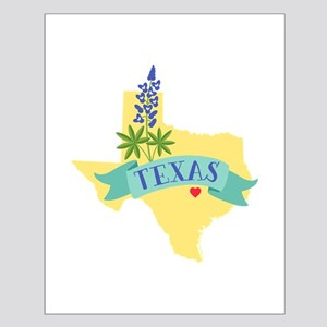 Texas State Outline Bluebonnet Flower Posters