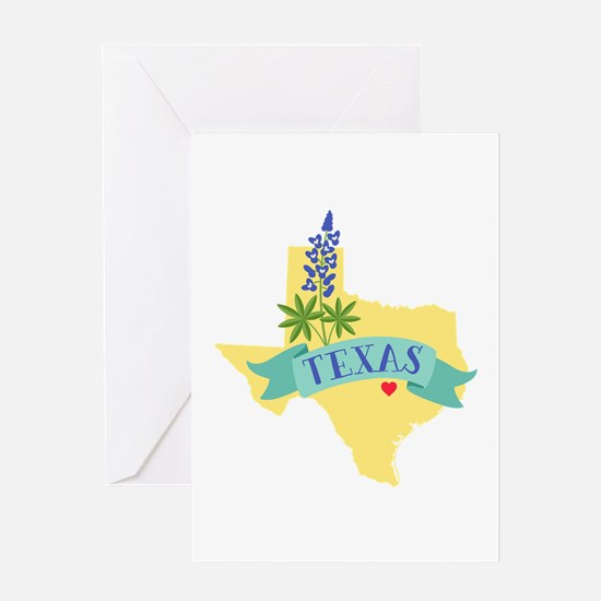 Texas State Outline Bluebonnet Flower Greeting Car