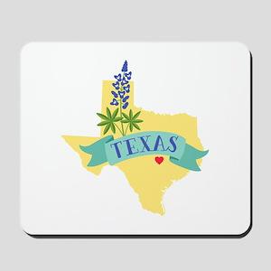 Texas State Outline Bluebonnet Flower Mousepad