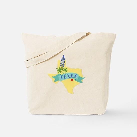 Texas State Outline Bluebonnet Flower Tote Bag