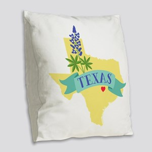 Texas State Outline Bluebonnet Flower Burlap Throw
