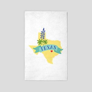 Texas State Outline Bluebonnet Flower Area Rug