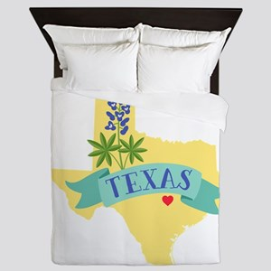 Texas State Outline Bluebonnet Flower Queen Duvet
