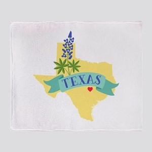 Texas State Outline Bluebonnet Flower Throw Blanke