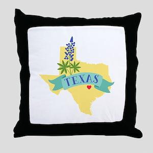 Texas State Outline Bluebonnet Flower Throw Pillow