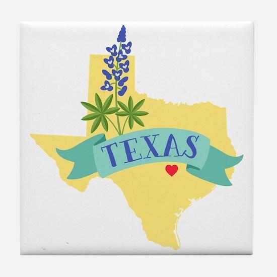 Texas State Outline Bluebonnet Flower Tile Coaster