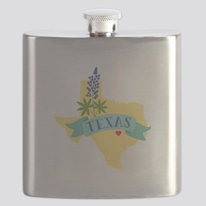 Texas State Outline Bluebonnet Flower Flask