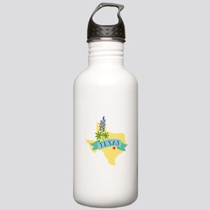 Texas State Outline Bluebonnet Flower Water Bottle