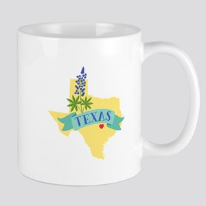 Texas State Outline Bluebonnet Flower Mugs