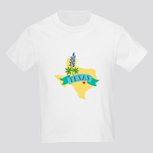 Texas State Outline Bluebonnet Flower T-Shirt