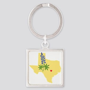 Texas State Outline Bluebonnet Flower Keychains