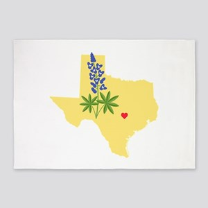 Texas State Outline Bluebonnet Flower 5'x7'Area Ru