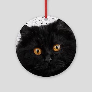 Black Persian Face Round Ornament