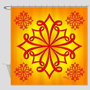 Red Ornate Design Shower Curtain