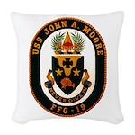 USS JOHN A. MOORE Woven Throw Pillow