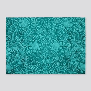 Teal Green Faux Suede Leather Flora 5'x7'Area Rug