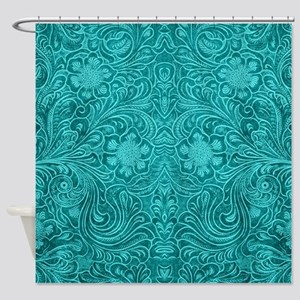 Teal Green Faux Suede Leather Flora Shower Curtain