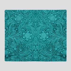 Teal Green Faux Suede Leather Floral Throw Blanket