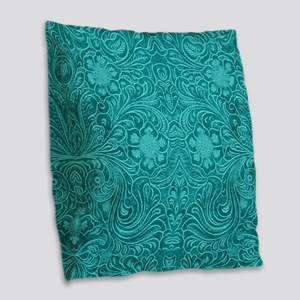 Teal Green Faux Suede Leather Burlap Throw Pillow