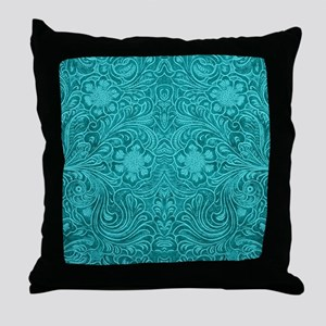 Teal Green Faux Suede Leather Floral Throw Pillow