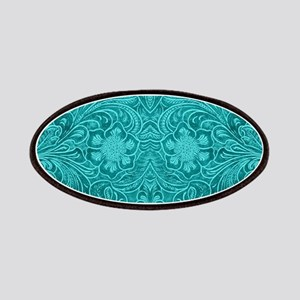 Teal Green Faux Suede Leather Floral Design Patch