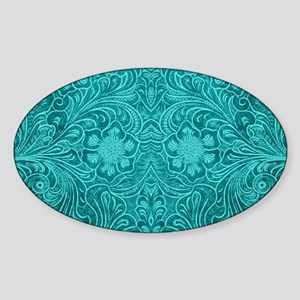 Teal Green Faux Suede Leather Floral Desig Sticker