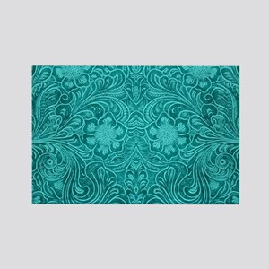 Teal Green Faux Suede Leather Floral Desig Magnets