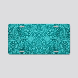 Teal Green Faux Suede Leath Aluminum License Plate