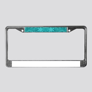 Teal Green Faux Suede Leather License Plate Frame