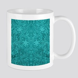 Teal Green Faux Suede Leather Floral Design Mugs