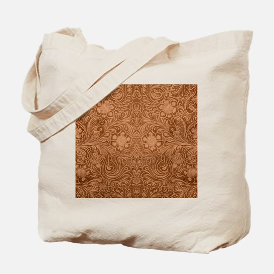 Brown Faux Suede Leather Floral Design Tote Bag