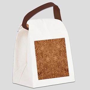 Brown Faux Suede Leather Floral D Canvas Lunch Bag