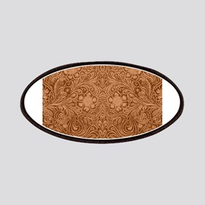 Brown Faux Suede Leather Floral Design Patch