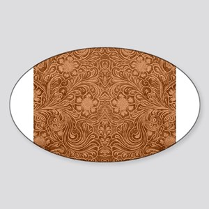 Brown Faux Suede Leather Floral Design Sticker