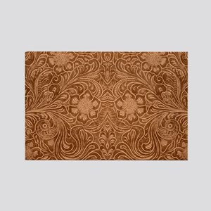 Brown Faux Suede Leather Floral Design Magnets