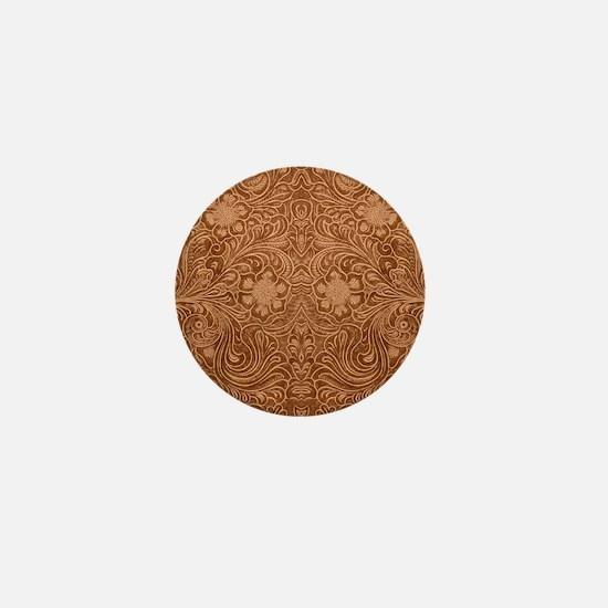 Brown Faux Suede Leather Floral Design Mini Button