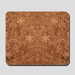 Brown Faux Suede Leather Floral Design Mousepad