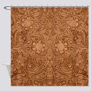 Brown Faux Suede Leather Floral Des Shower Curtain