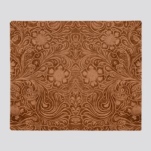 Brown Faux Suede Leather Floral Desi Throw Blanket
