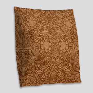 Brown Faux Suede Leather Flora Burlap Throw Pillow