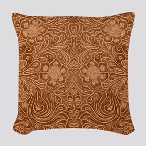 Brown Faux Suede Leather Flora Woven Throw Pillow