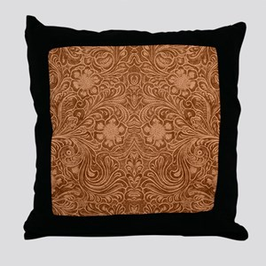 Brown Faux Suede Leather Floral Desig Throw Pillow