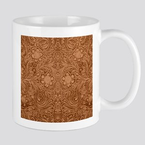 Brown Faux Suede Leather Floral Design Mugs