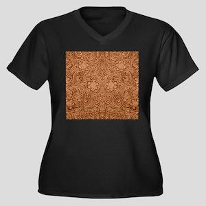 Brown Faux Suede Leather Floral Plus Size T-Shirt