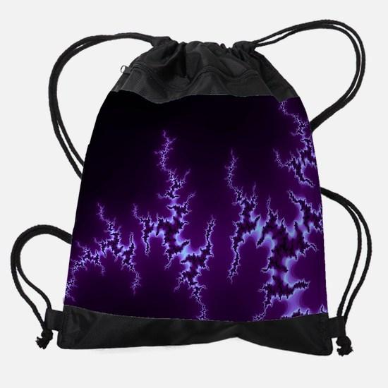 Dark Purple Fractal Drawstring Bag