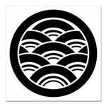 Overlapping waves in circle Square Car Magnet 3