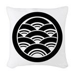 Overlapping waves in circle Woven Throw Pillow