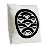Overlapping waves in circle Burlap Throw Pillow