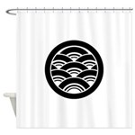Overlapping waves in circle Shower Curtain