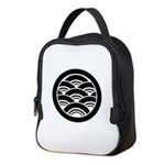 Overlapping waves in circle Neoprene Lunch Bag